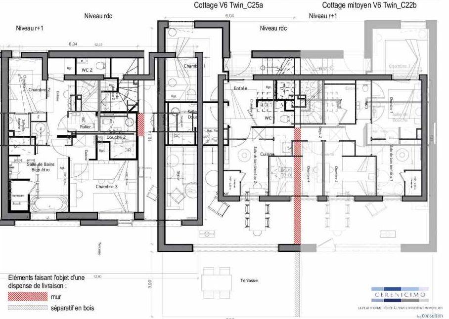 Plan C25-a, appartement neuf type T6 au Rez de chaussée, faisant 89m² du programme neuf Les Landes de Gascogne à Pindères.