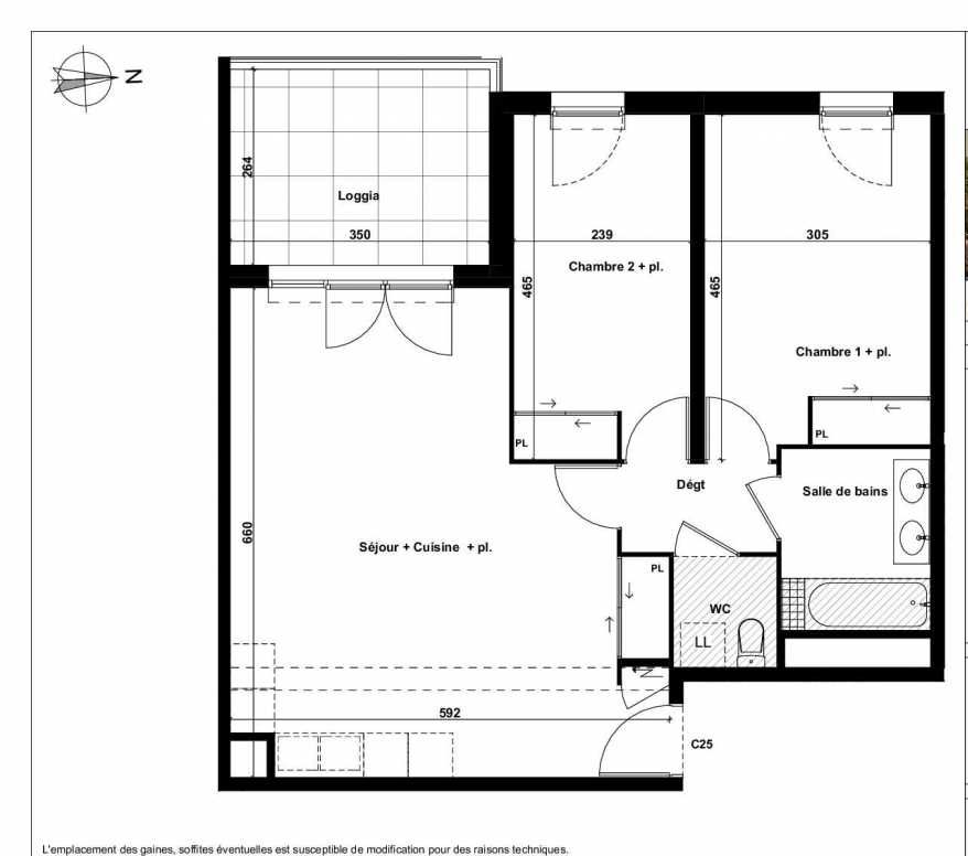 Plan C25, appartement neuf type T3 au 5ème étage, faisant 67m² du programme neuf Excellence Méjanes à Aix-en-Provence.