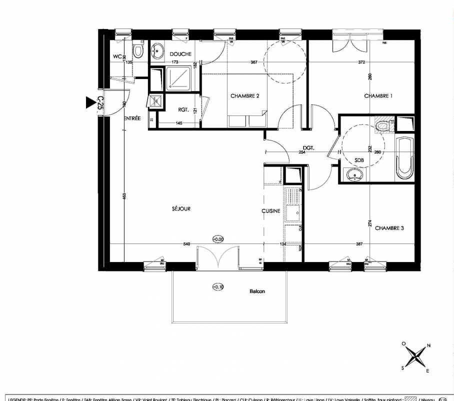 Plan C25, appartement neuf type T4 au 2ème étage, orienté Sud faisant 79m² du programme neuf La Closeraie à Villeneuve-d'Ascq.