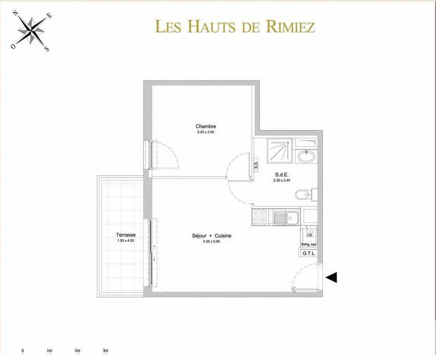 Plan C25, appartement neuf type T2 au 2ème étage, orienté Ouest faisant 38m² du programme neuf Les Hauts de Rimiez à Nice.