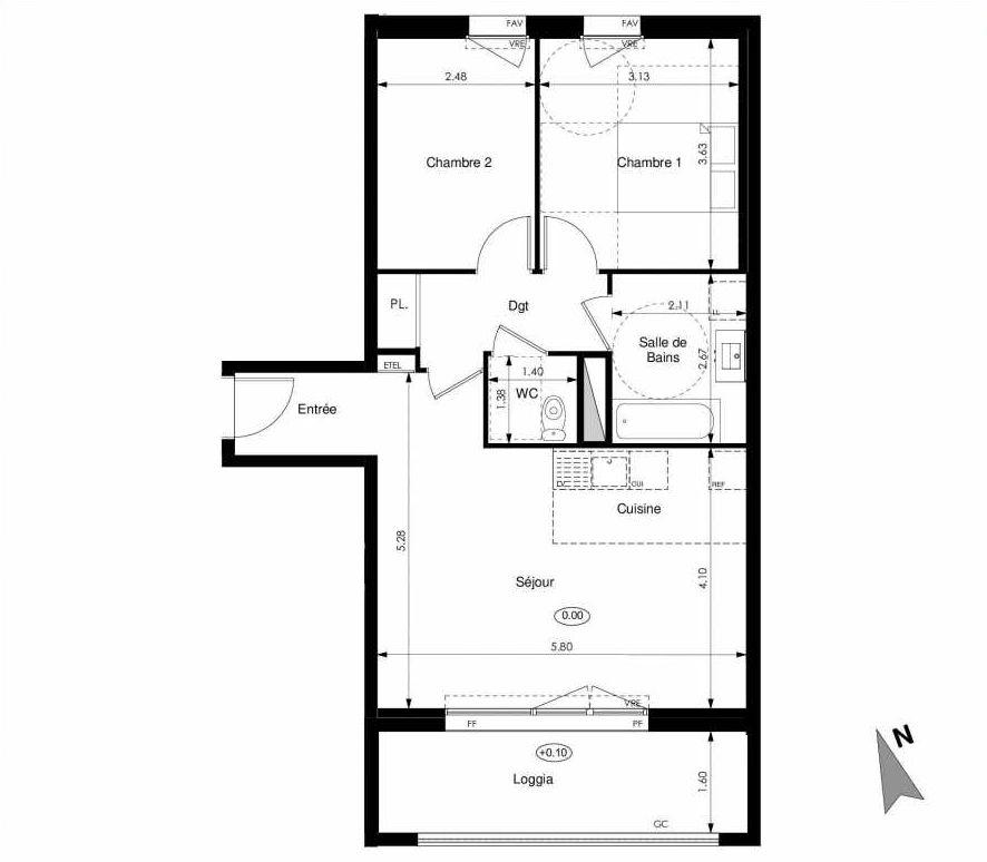 Plan C25, appartement neuf type T3 au 2ème étage, faisant 61m² du programme neuf Les Jardins d'Elise à Angers.