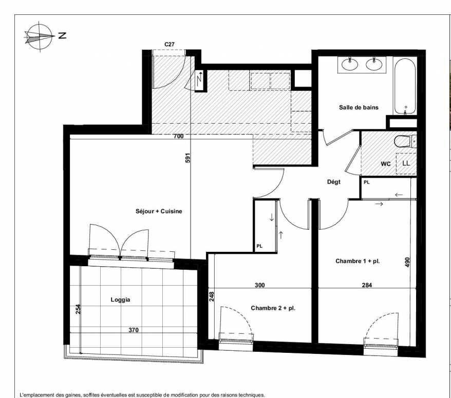 Plan C27, appartement neuf type T3 au 5ème étage, faisant 64m² du programme neuf Excellence Méjanes à Aix-en-Provence.