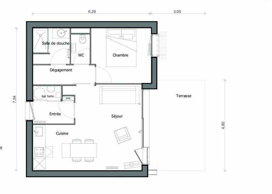 Plan C27, appartement neuf type T2 au Rez de chaussée, faisant 44m² du programme neuf Les Landes de Gascogne à Pindères.