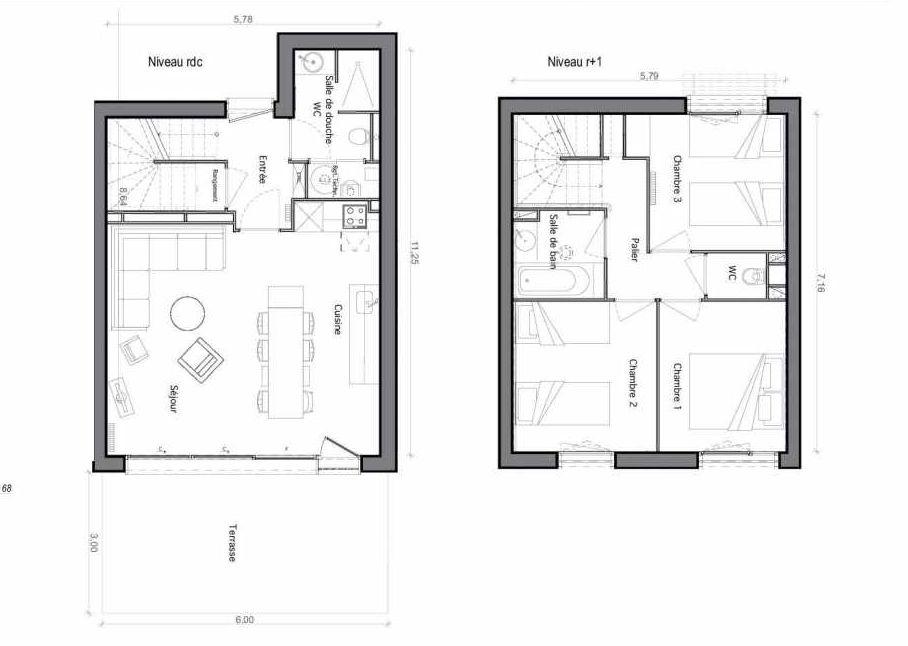 Plan C28, appartement neuf type T6 au Rez de chaussée, faisant 75m² du programme neuf Les Landes de Gascogne à Pindères.