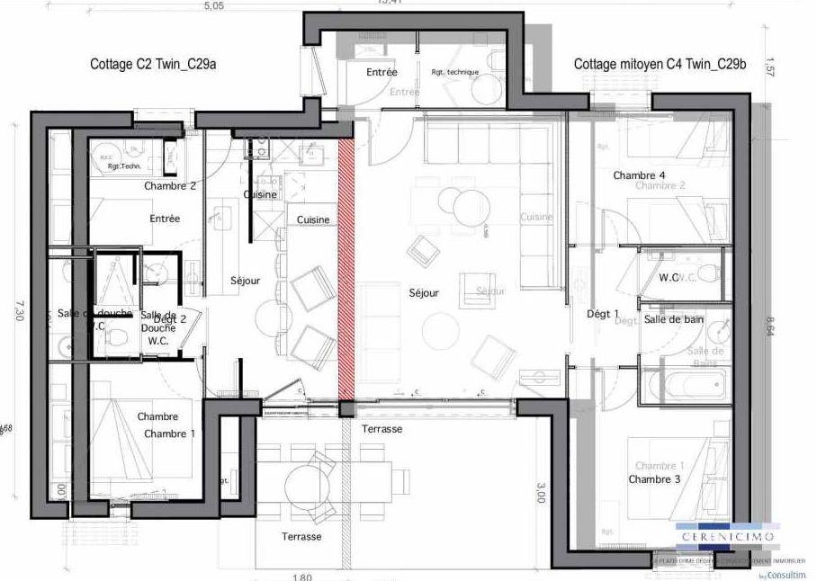 Plan C29-a, appartement neuf type T2 au Rez de chaussée, faisant 33m² du programme neuf Les Landes de Gascogne à Pindères.