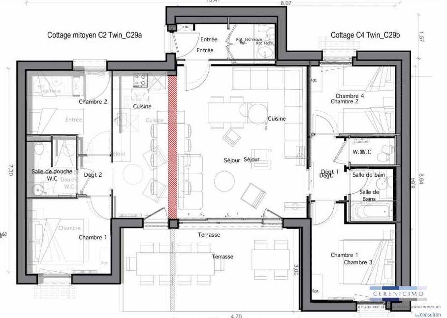 Plan C29-b, appartement neuf type T4 au Rez de chaussée, faisant 59m² du programme neuf Les Landes de Gascogne à Pindères.