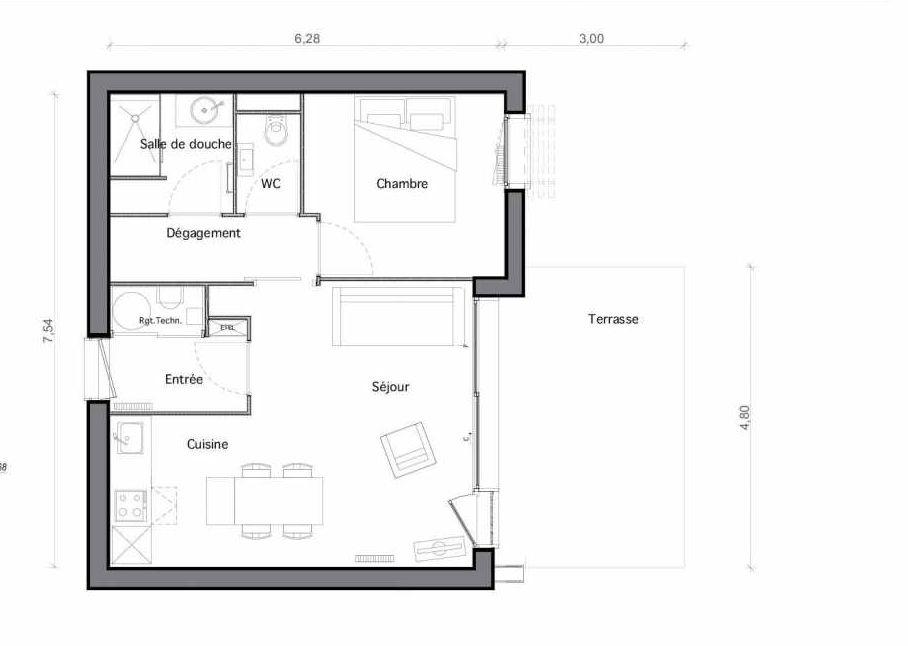 Plan C30, appartement neuf type T2 au Rez de chaussée, faisant 44m² du programme neuf Les Landes de Gascogne à Pindères.