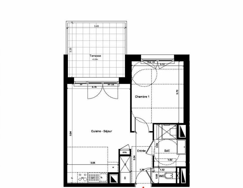 Plan C304, appartement neuf, orienté Nord faisant 43m² du programme neuf New Hastings à Caen.