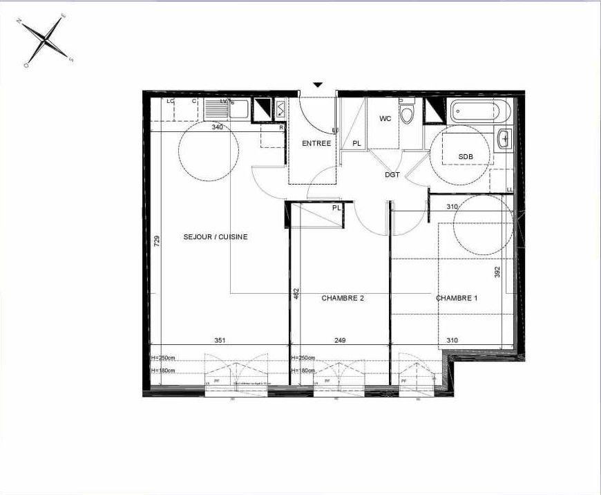 Plan C304, appartement neuf type T3 au 3ème étage, orienté Sud faisant 62m² du programme neuf PASTELS à Villiers-sur-Marne.