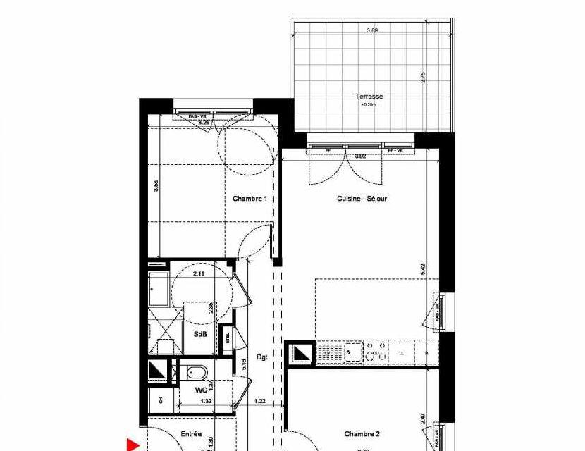 Plan C305, appartement neuf, orienté Nord faisant 58m² du programme neuf New Hastings à Caen.
