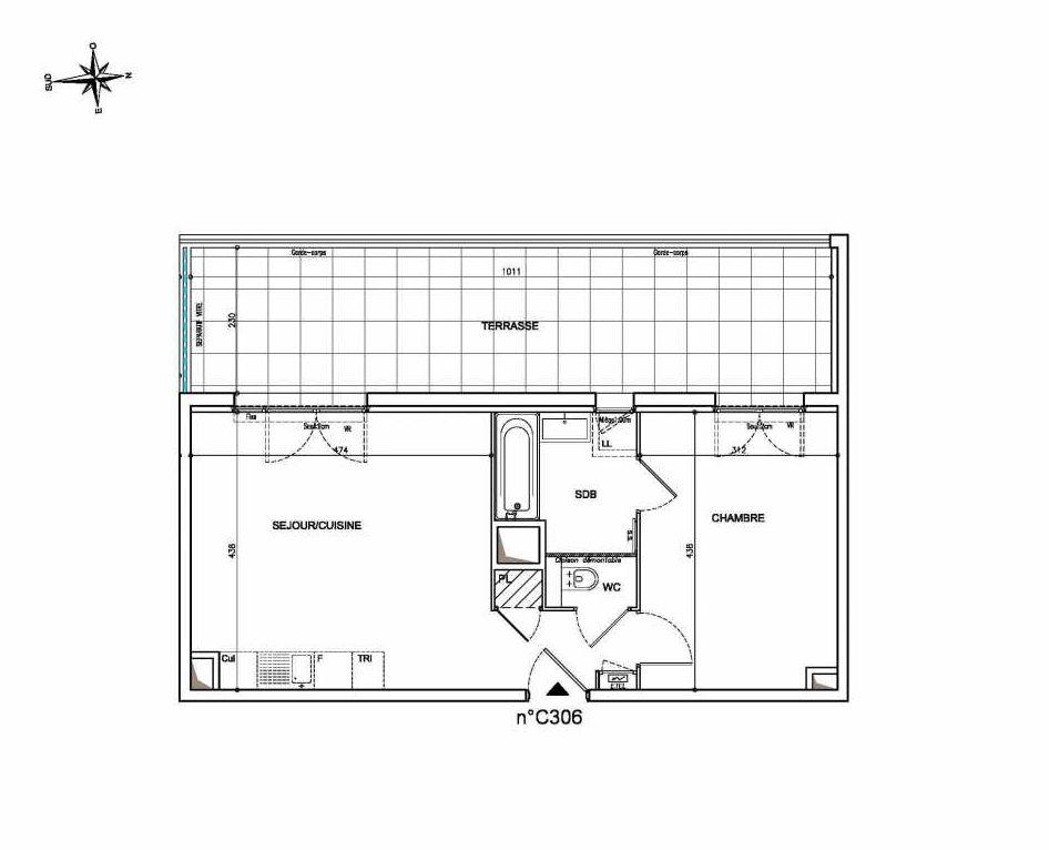 Plan C306, appartement neuf type T2 au 3ème étage, orienté Ouest faisant 43m² du programme neuf Coeur Mougins - Jardins des Sens et Jardins en Vue à Mougins.