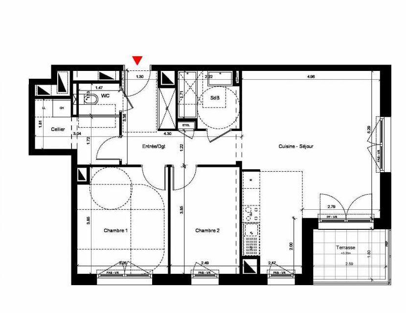 Plan C306, appartement neuf, orienté Sud faisant 72m² du programme neuf New Hastings à Caen.