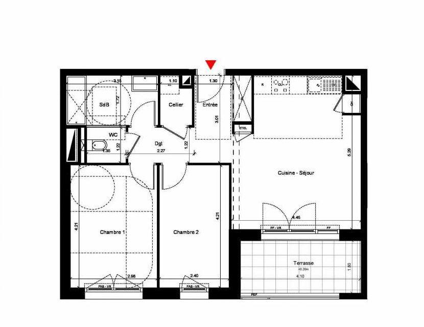 Plan C307, appartement neuf, orienté Sud faisant 60m² du programme neuf New Hastings à Caen.