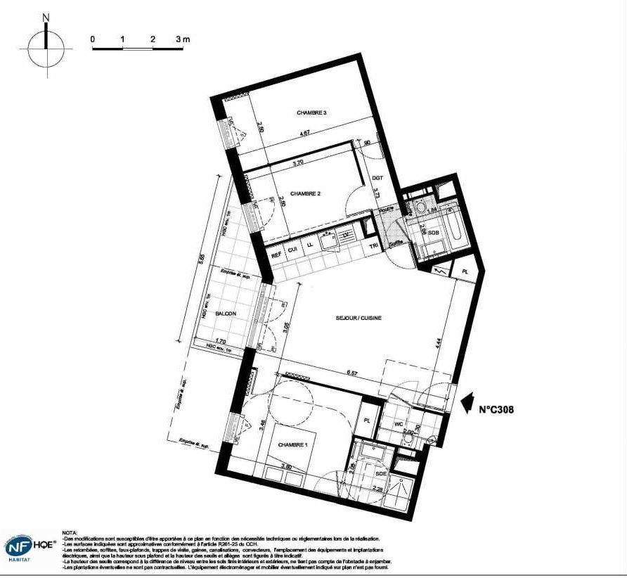 Plan C308, appartement neuf type T4 au 3ème étage, faisant 81m² du programme neuf PRYSM à Clichy.