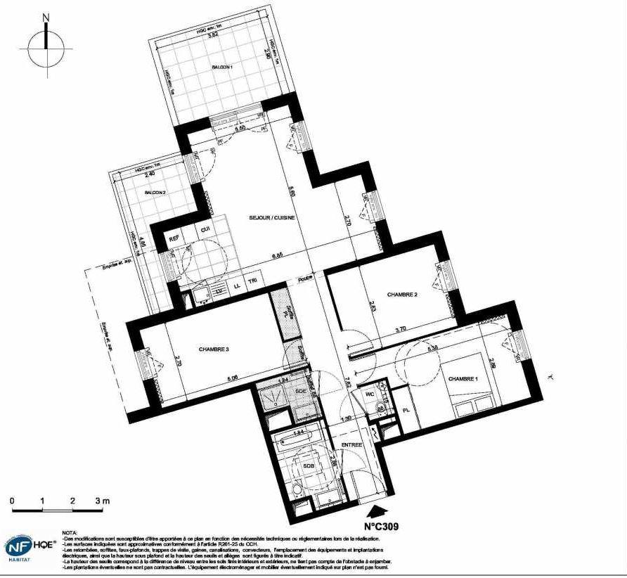 Plan C309, appartement neuf type T4 au 3ème étage, faisant 84m² du programme neuf PRYSM à Clichy.