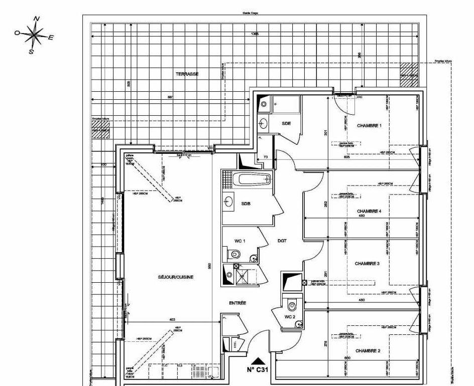 Plan C31, appartement neuf type T5 au 3ème étage, orienté Nord faisant 113m² du programme neuf INFINITY à Publier.