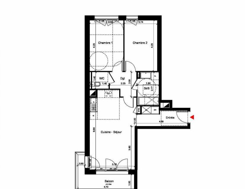 Plan C311, appartement neuf type T3 au 1er étage, orienté Sud faisant 64m² du programme neuf New Hastings à Caen.