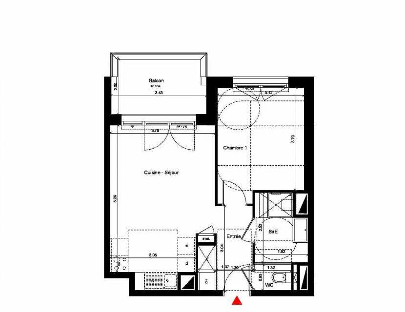 Plan C312, appartement neuf type T2 au 1er étage, orienté Nord faisant 43m² du programme neuf New Hastings à Caen.