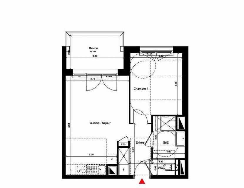 Plan C314, appartement neuf type T2 au 1er étage, orienté Nord faisant 44m² du programme neuf New Hastings à Caen.