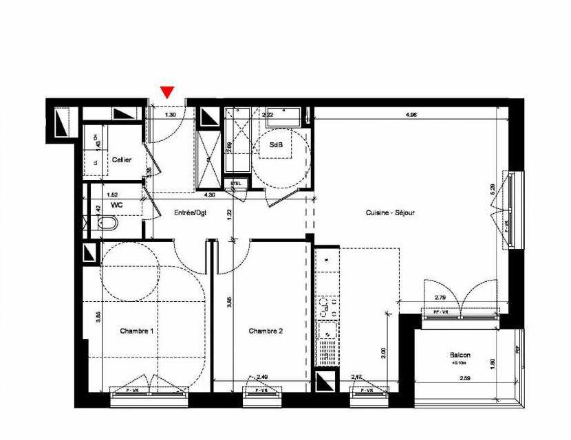 Plan C316, appartement neuf type T3 au 1er étage, orienté Sud faisant 69m² du programme neuf New Hastings à Caen.