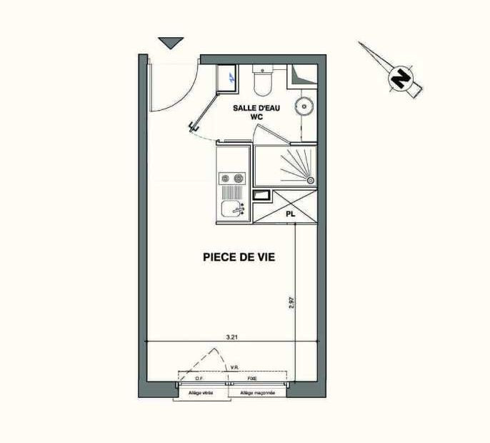 Plan C319, appartement neuf type T1 au 3ème étage, faisant 19m² du programme neuf Kaiman - Nimes à Nîmes.