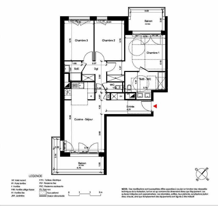 Plan C321, appartement neuf type T4 au 2ème étage, orienté Sud faisant 84m² du programme neuf New Hastings à Caen.