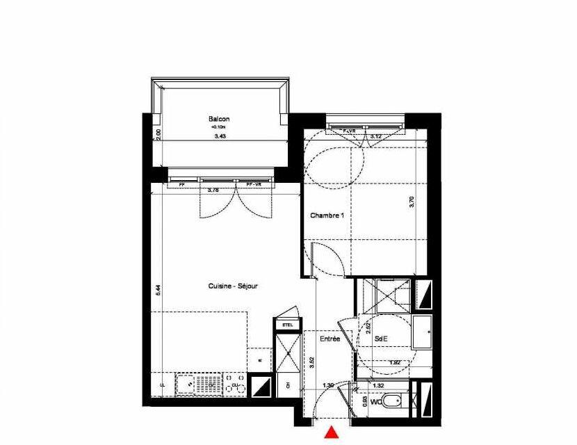 Plan C323, appartement neuf type T3 au 2ème étage, orienté Nord faisant 67m² du programme neuf New Hastings à Caen.