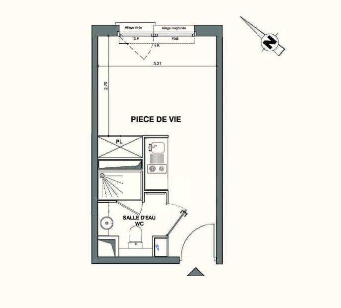 Plan C325, appartement neuf type T1 au 3ème étage, faisant 18m² du programme neuf Kaiman - Nimes à Nîmes.