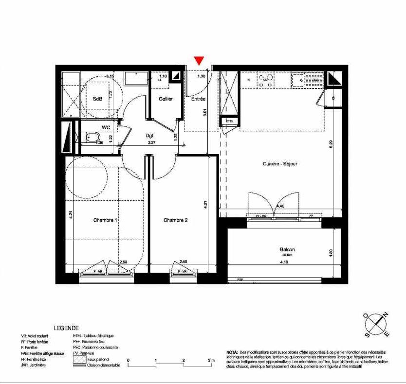 Plan C328, appartement neuf type T3 au 2ème étage, orienté Sud faisant 60m² du programme neuf New Hastings à Caen.