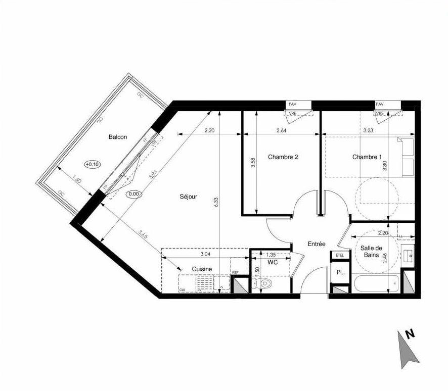 Plan C33, appartement neuf type T3 au 3ème étage, faisant 60m² du programme neuf Les Jardins d'Elise à Angers.