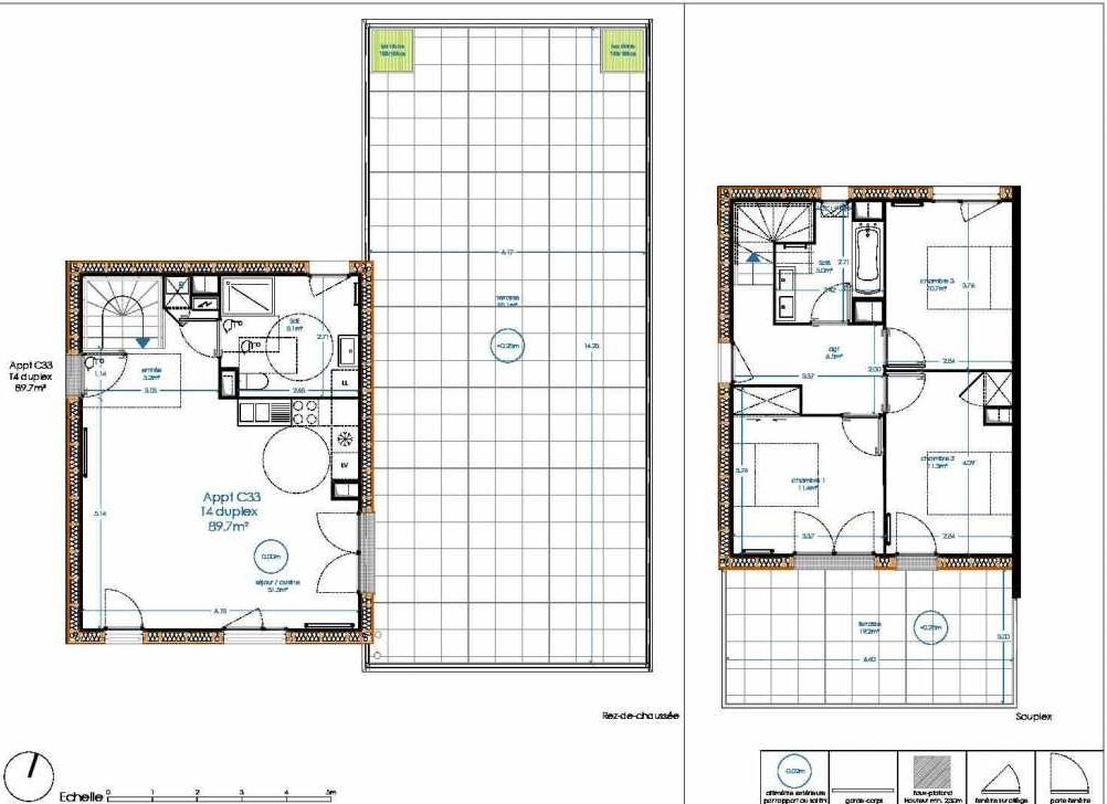 Plan C33, appartement neuf type T4 au 2ème étage, orienté Sud faisant 90m² du programme neuf Oak Park à Bègles.