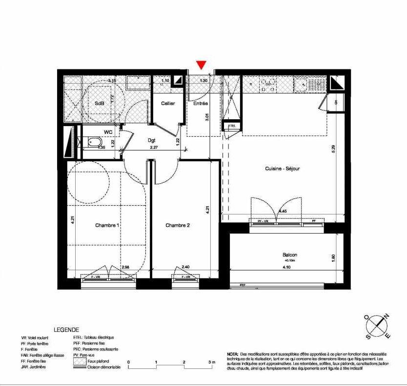 Plan C336, appartement neuf type T3 au 3ème étage, orienté Sud faisant 60m² du programme neuf New Hastings à Caen.