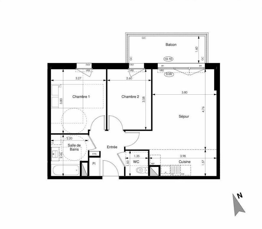 Plan C34, appartement neuf type T3 au 3ème étage, faisant 59m² du programme neuf Les Jardins d'Elise à Angers.