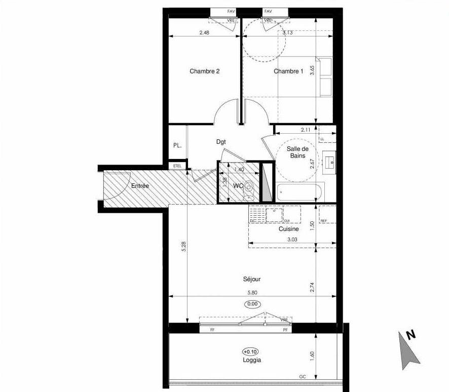 Plan C35, appartement neuf type T3 au 3ème étage, faisant 62m² du programme neuf Les Jardins d'Elise à Angers.