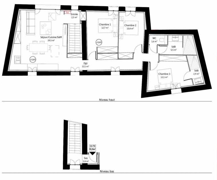 Plan C4, appartement neuf type T4 au Rez de chaussée, faisant 92m² du programme neuf LE VIEUX TILLEUL à La Tour-de-Salvagny.