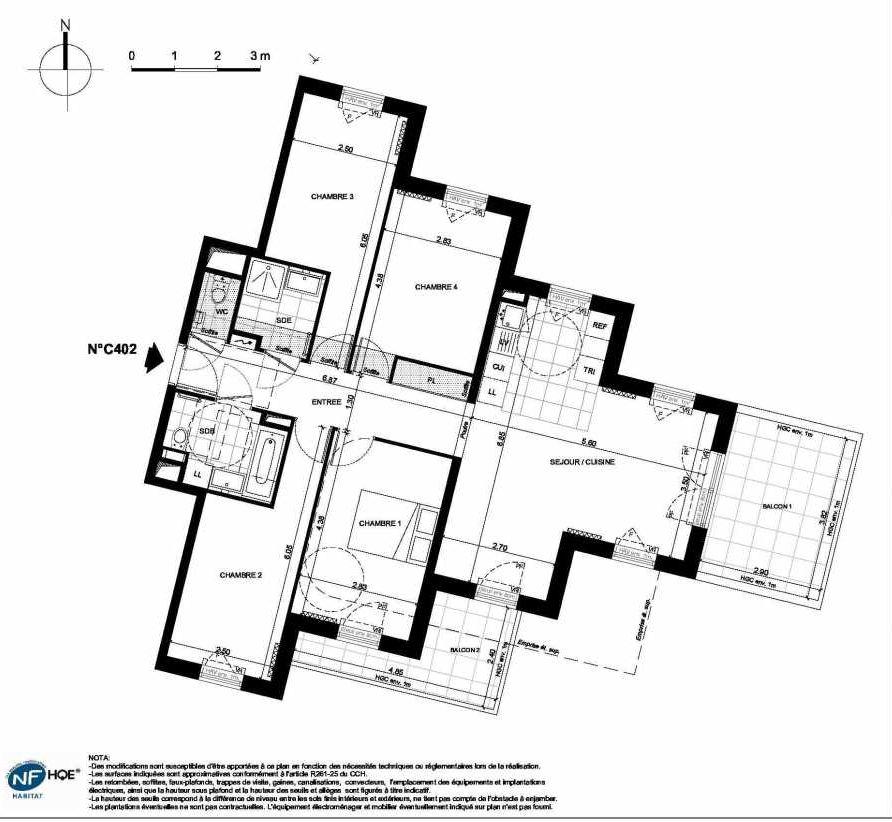 Plan C402, appartement neuf type T5 au 4ème étage, faisant 95m² du programme neuf PRYSM à Clichy.