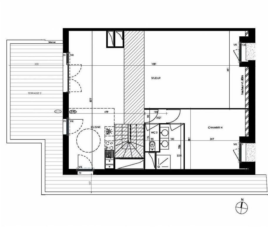 Plan C405, appartement neuf type T5 au 4ème étage, orienté Ouest faisant 146m² du programme neuf PAVILLON 32 à Toulouse.