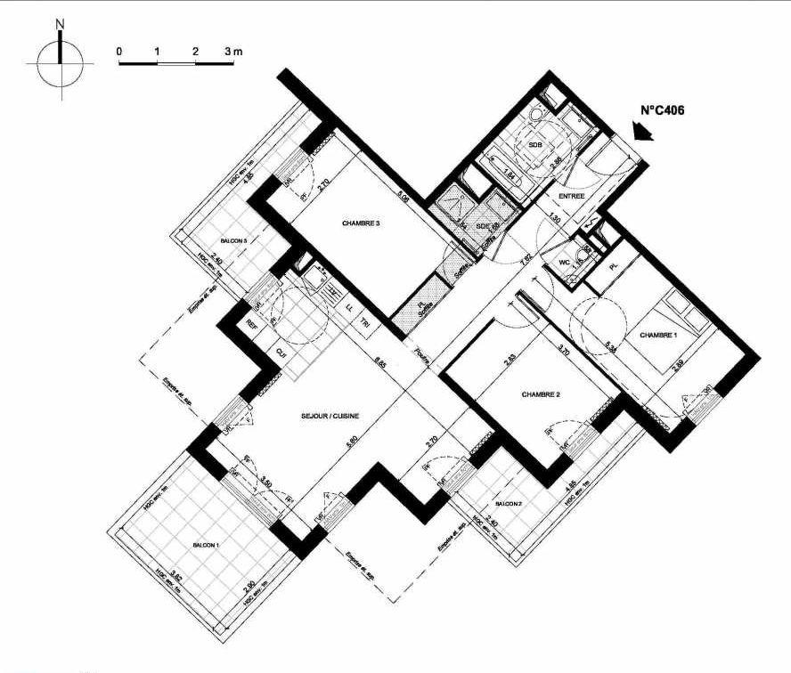Plan C406, appartement neuf type T4 au 4ème étage, faisant 84m² du programme neuf PRYSM à Clichy.