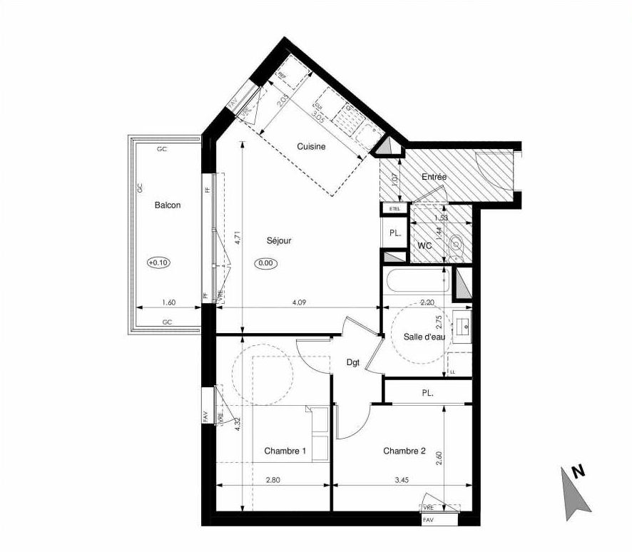 Plan C42, appartement neuf type T3 au 4ème étage, faisant 60m² du programme neuf Les Jardins d'Elise à Angers.