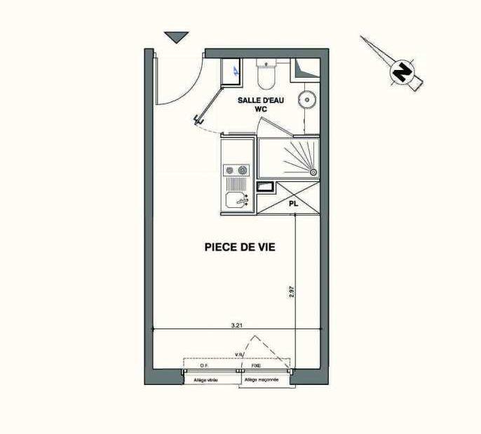 Plan C421, appartement neuf type T1 au 4ème étage, faisant 19m² du programme neuf Kaiman - Nimes à Nîmes.