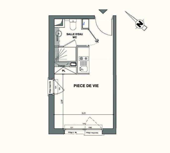Plan C422, appartement neuf type T1 au 4ème étage, faisant 19m² du programme neuf Kaiman - Nimes à Nîmes.