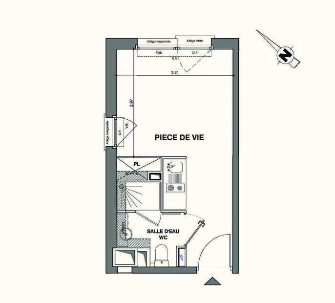 Plan C423, appartement neuf type T1 au 4ème étage, faisant 19m² du programme neuf Kaiman - Nimes à Nîmes.