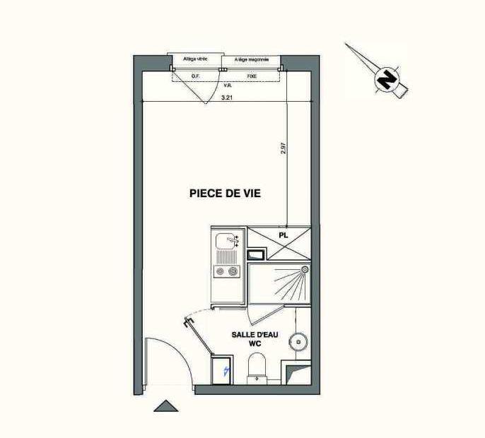 Plan C424, appartement neuf type T1 au 4ème étage, faisant 19m² du programme neuf Kaiman - Nimes à Nîmes.