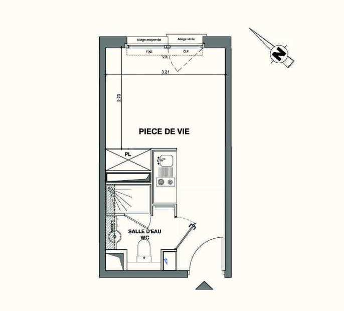 Plan C425, appartement neuf type T1 au 4ème étage, faisant 18m² du programme neuf Kaiman - Nimes à Nîmes.