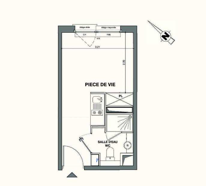 Plan C426, appartement neuf type T1 au 4ème étage, faisant 18m² du programme neuf Kaiman - Nimes à Nîmes.