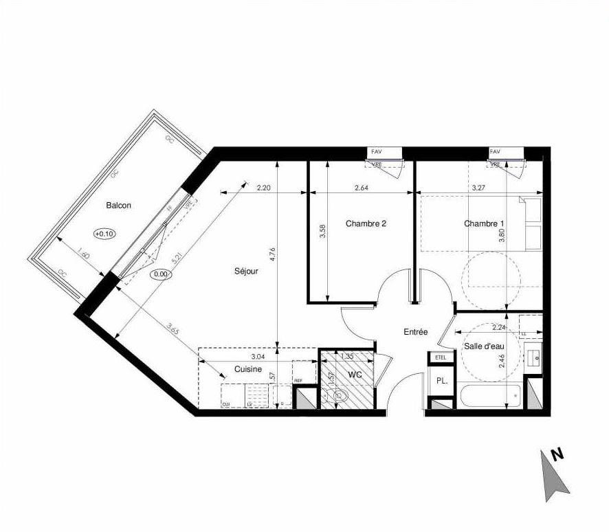 Plan C43, appartement neuf type T3 au 4ème étage, faisant 60m² du programme neuf Les Jardins d'Elise à Angers.