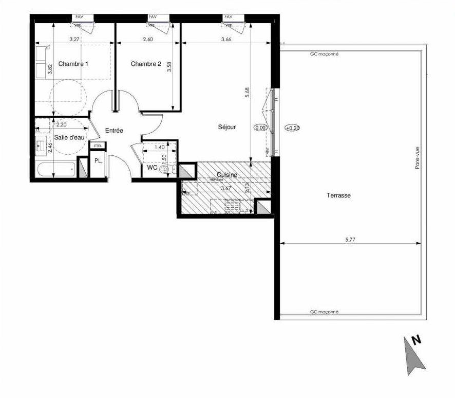 Plan C44, appartement neuf type T3 au 4ème étage, faisant 63m² du programme neuf Les Jardins d'Elise à Angers.