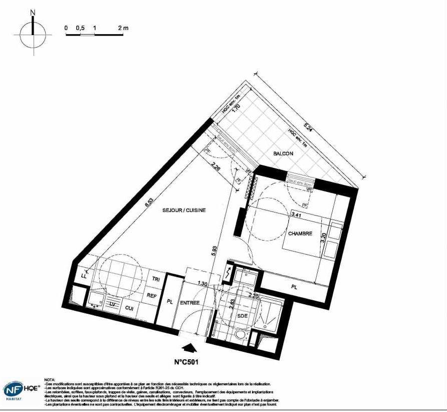 Plan C501, appartement neuf type T2 au 5ème étage, faisant 42m² du programme neuf PRYSM à Clichy.
