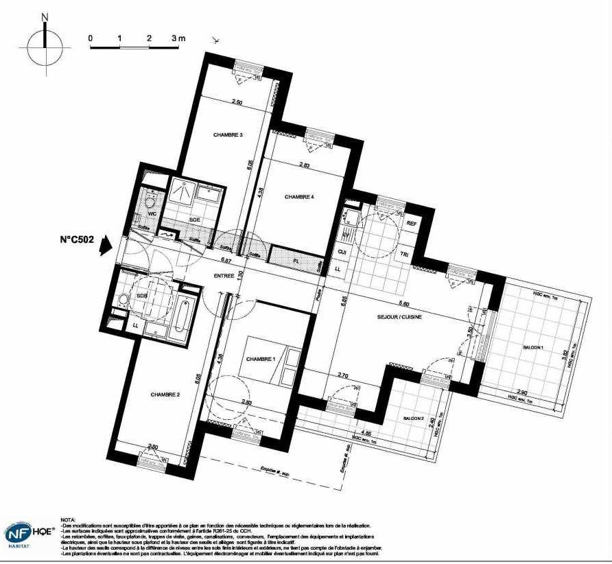 Plan C502, appartement neuf type T5 au 5ème étage, faisant 95m² du programme neuf PRYSM à Clichy.
