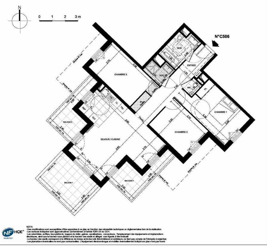 Plan C506, appartement neuf type T4 au 5ème étage, faisant 84m² du programme neuf PRYSM à Clichy.